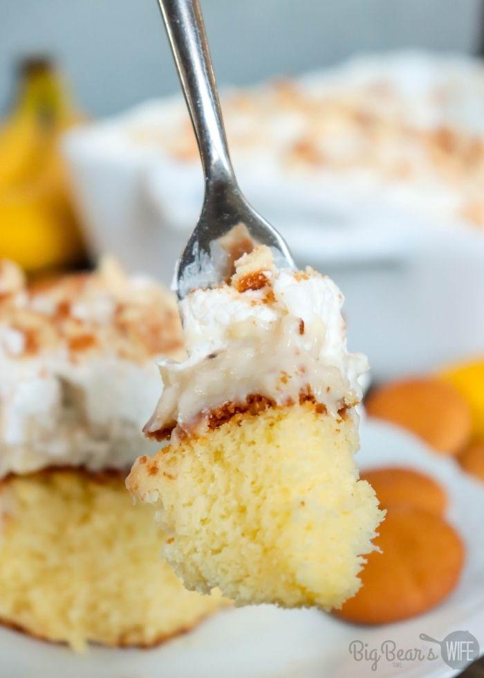Bite of Banana Cream Pie Poke Cake on fork