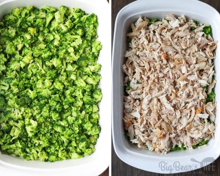 Broccoli in casserole dish on left and shredded chicken in white casserole dish on left