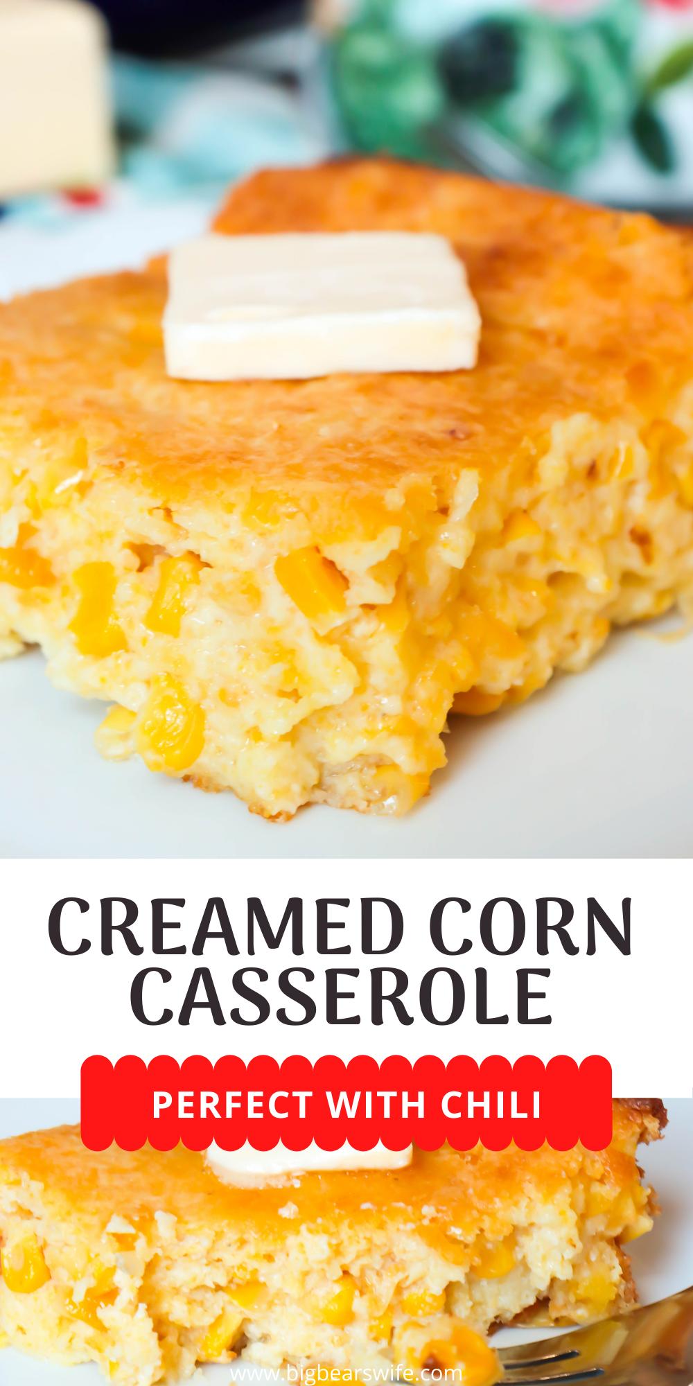 This Creamed Corn Cornbread aka Creamed Corn Casserole has a Jiffy Cornbread box mix as the base but this isn't your average boxed cornbread! It's creamy center comes from the extra corn and cream corn added into the recipe! via @bigbearswife
