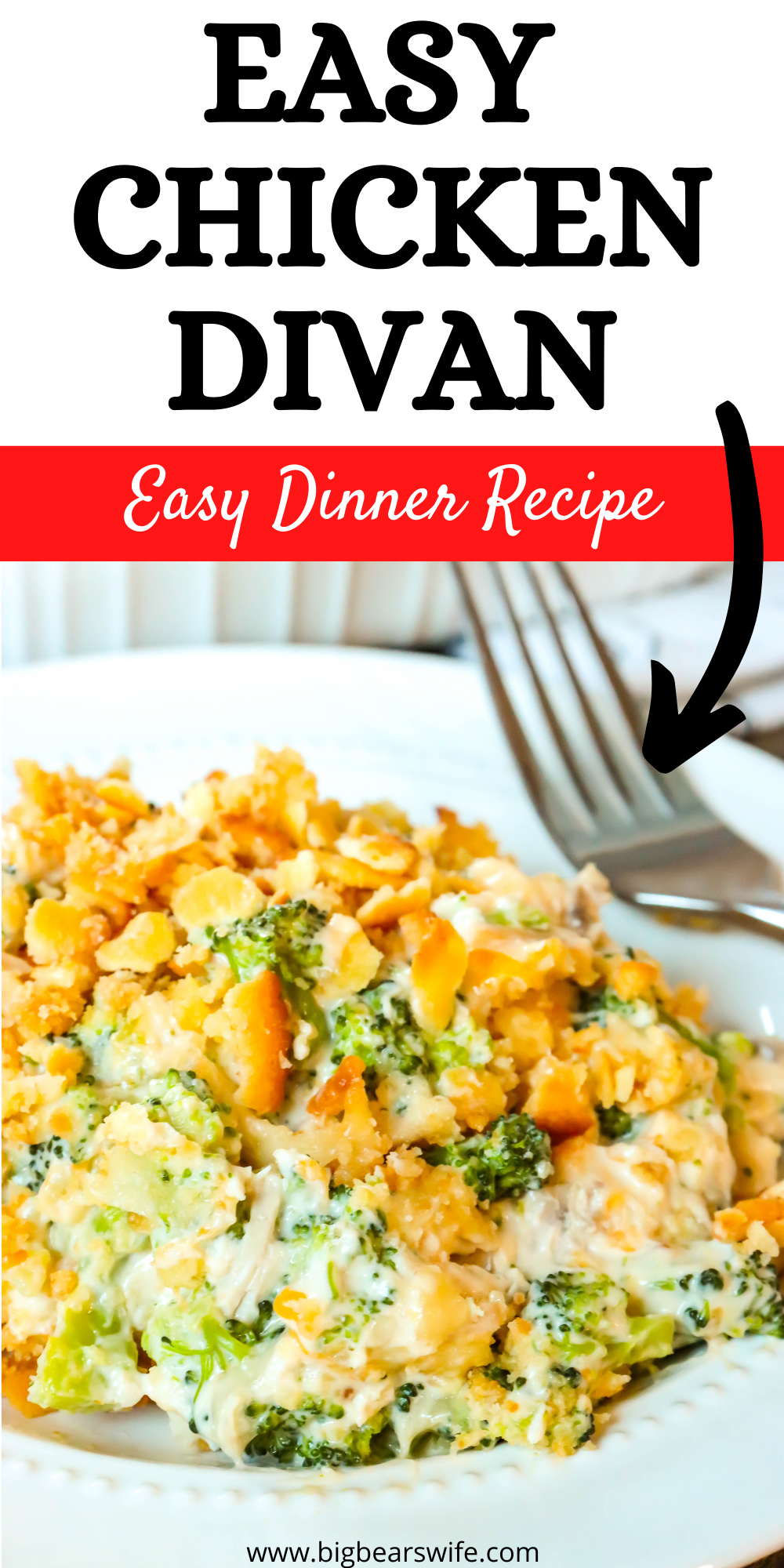 This Easy Chicken Divan Recipe is a delicious and creamy casserole that you're going to fall in love with! Broccoli, chicken and a creamy sauce are mixed together in this casserole with 2 types of cheese and topped with butter crackers!  via @bigbearswife