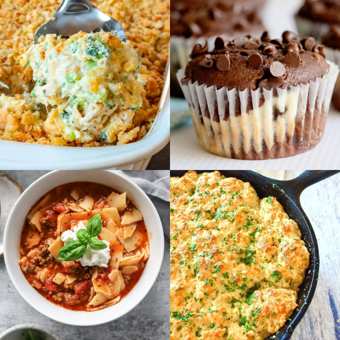 Welcome to Meal Plan Monday 255! This week we're featuring recipes like; One-Pot Lasagna Soup, Red Lobster Cheddar Biscuits, Cheesecake Chocolate Chip Muffins and Easy Chicken Divan!