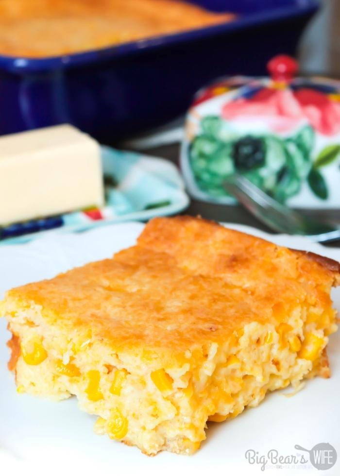 Slice of Creamed Corn Cornbread _ Creamed Corn Casserole on a white plate