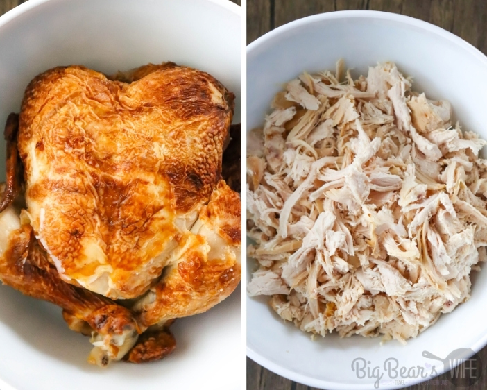 Whole Chicken in white bowl on left and shredded chicken in white bowl on right