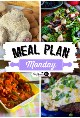 Welcome to this week's edition of Meal Plan Monday! This week we are featuring Easter Bunny Butt Cheesecake Cheese Ball, Magic Carrots, Cherry Pecan Broccoli Salad, & Steak with Mexican Street Corn!