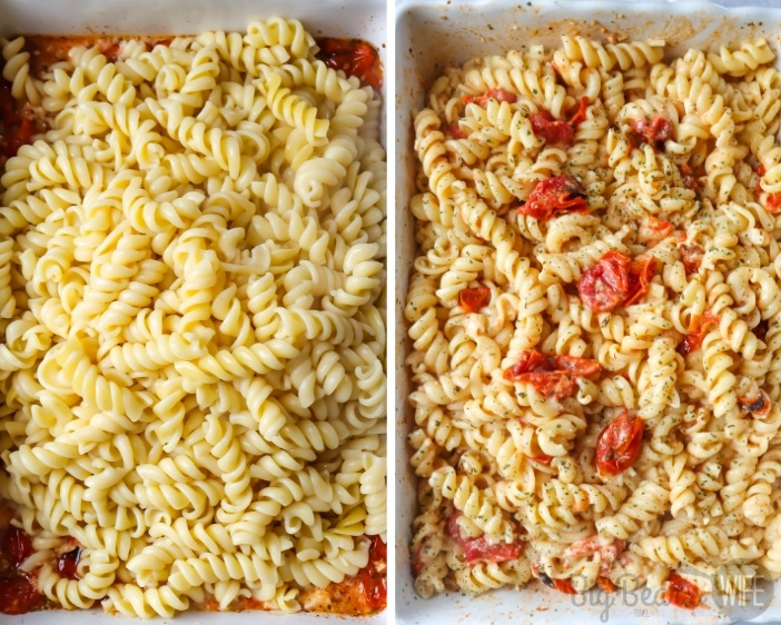 Adding pasta to sauce on left and mixture mixed together on right