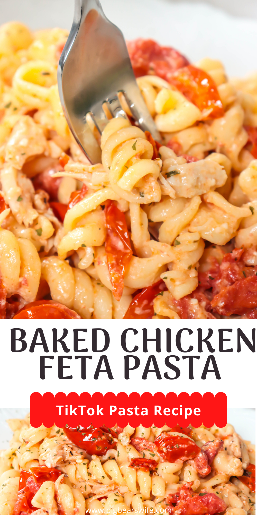 A little chicken twist on the TikTok famous Chicken Feta Pasta is what we're servings up today! This  Baked Chicken Feta Pasta is delicious and hardly takes any work in the kitchen to toss together!  via @bigbearswife