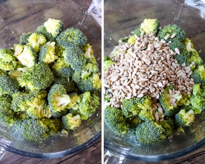 Broccoli and sunflower seeds in glass bowl