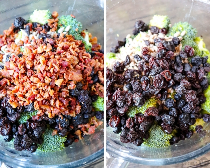 Broccoli, sunflower seeds, bacon bits and raisins in glass bowl