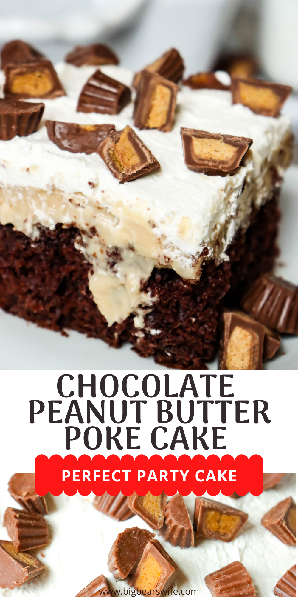 This Chocolate Peanut Butter Poke Cake is a rich homemade chocolate cake topped with homemade peanut butter pudding, Crème Chantilly and chopped peanut butter cups makes the perfect treat! Peanut Butter and Chocolate lovers will go crazy over this fun cake! via @bigbearswife