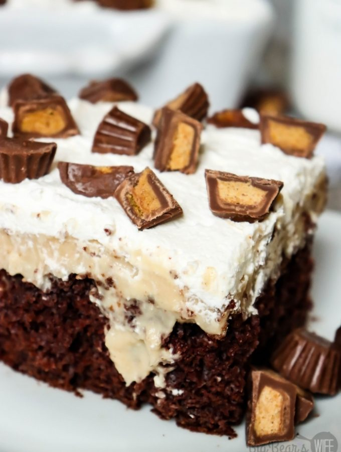 SLICE OF CHOCOLATE PEANUT BUTTER POKE CAKE
