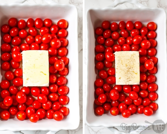 Cherry Tomatoes with block of feta cheese drizzled with olive oil in white casserole dish on left - same on right but with pepper added