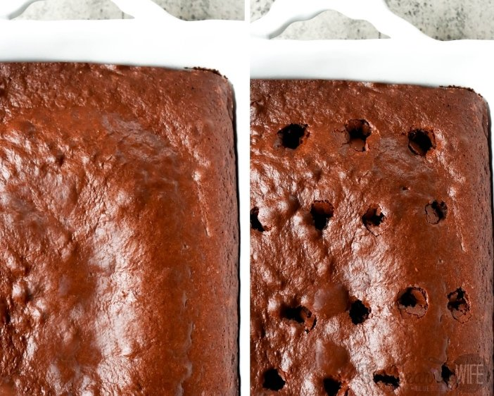 Chocolate cake with holes poked into it for poke cake