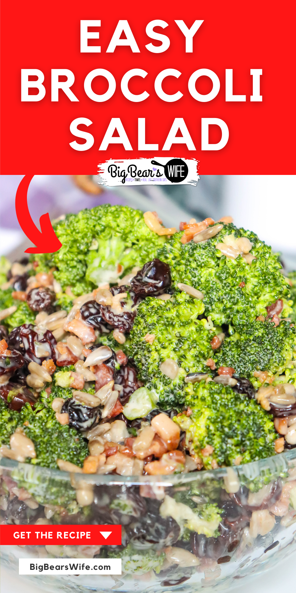 A perfectly Easy Broccoli Salad that's perfect as a side dish, great for picnics and perfect for cookouts! This make-ahead side dish is mixtures of fresh broccoli, sunflower seeds, raisins and bacon bits that has been tossed in a sweet southern dressing and chilled! via @bigbearswife