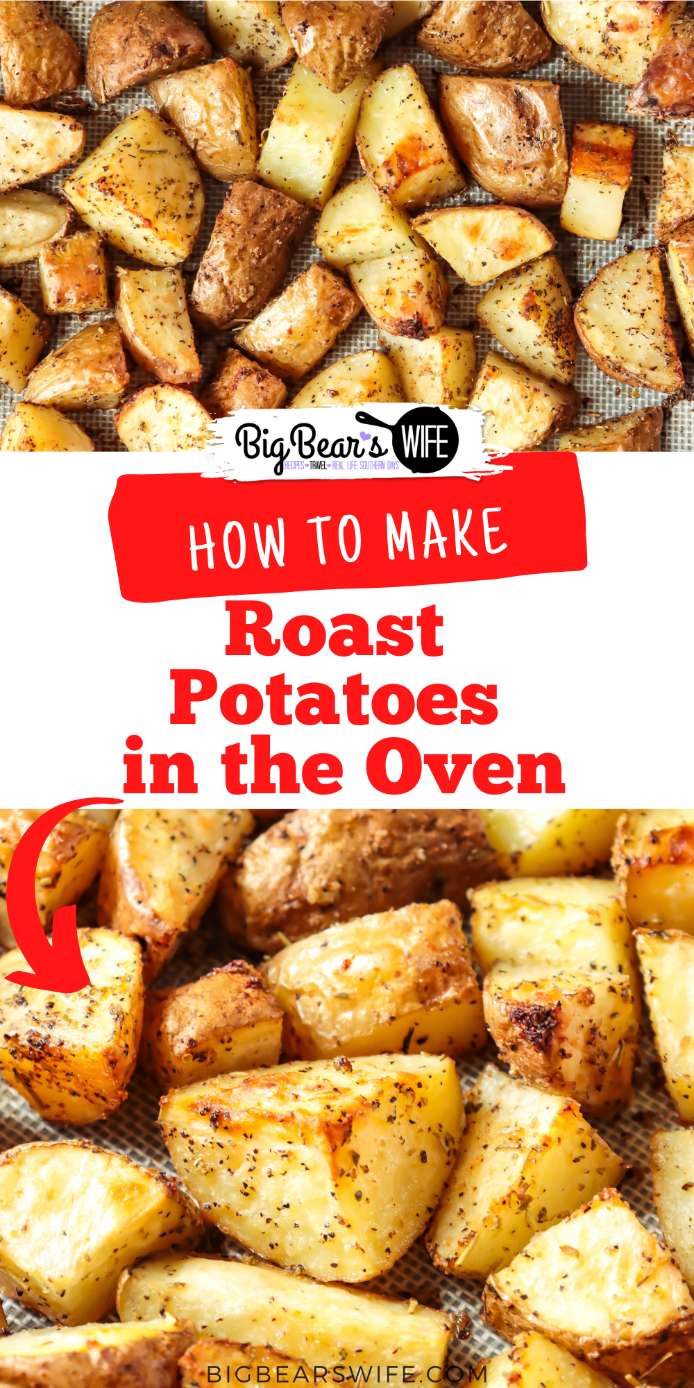 Roasted Potatoes are tender and delicious additions to any meals or recipe! Learn How To Roast Potatoes in the Oven and serve them with dinner this week! via @bigbearswife