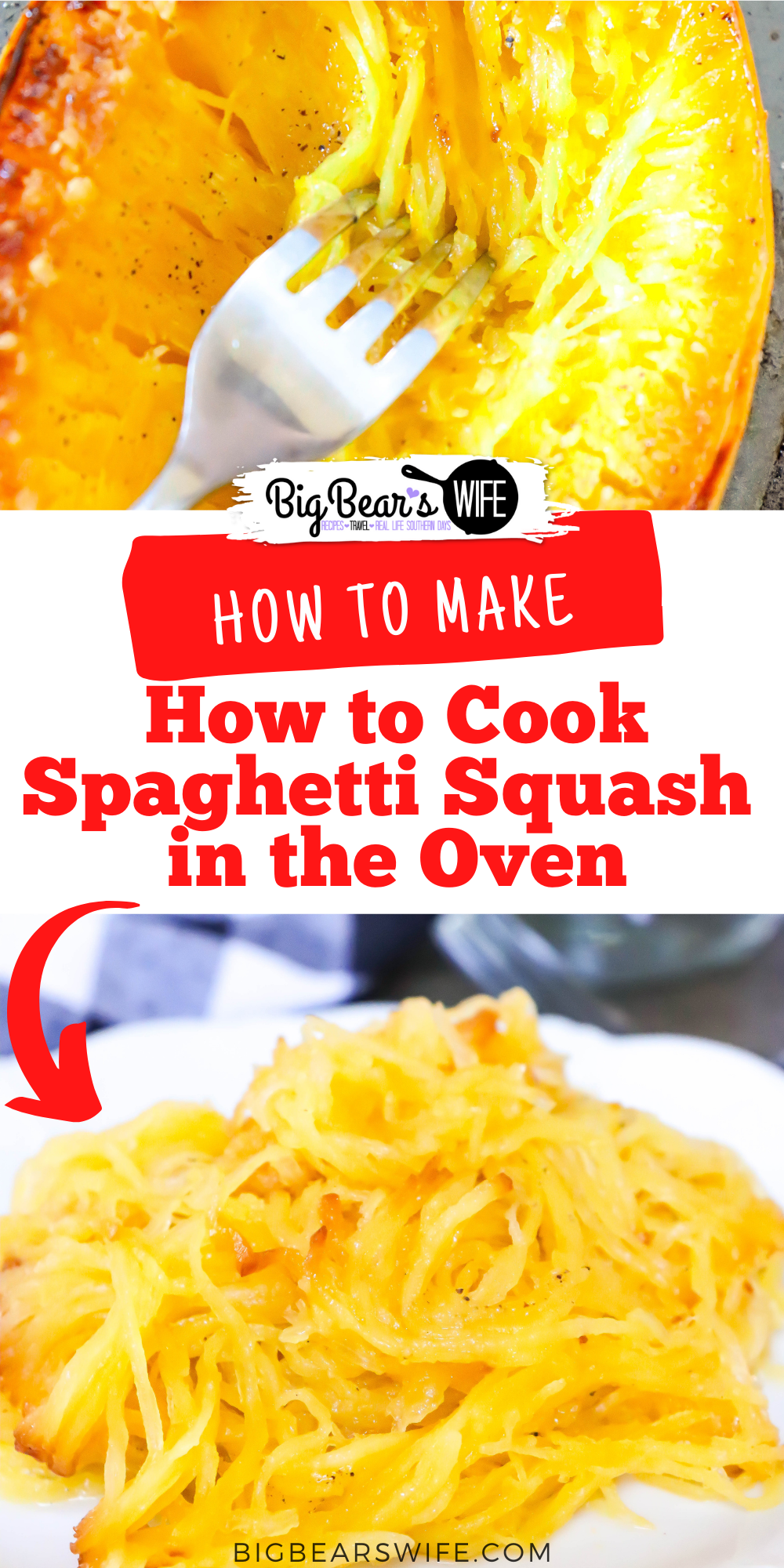Trying to learn How to Cook Spaghetti Squash in the Oven? I'll show you how I love to cook prep and cook Spaghetti Squash! via @bigbearswife
