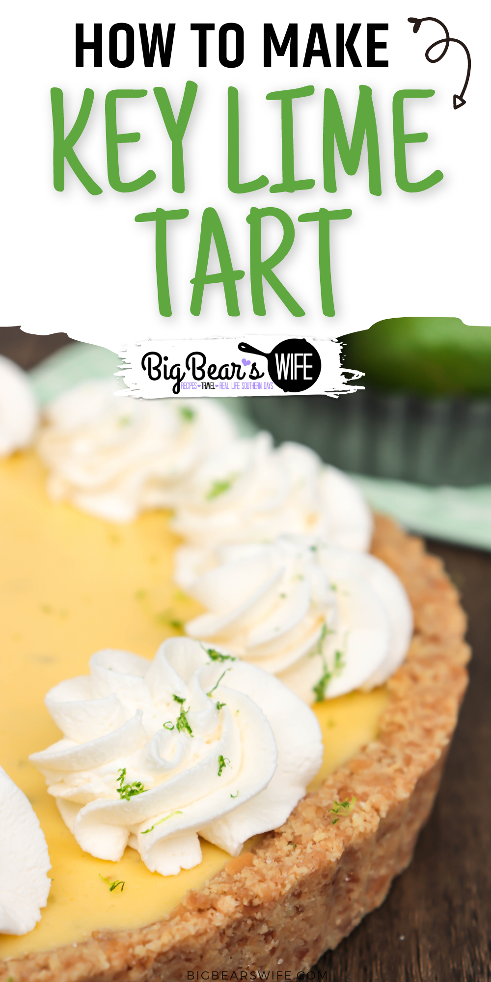 This easy Key Lime Tart has a sweet vanilla wafer crust, a tart key lime filling and it's topped with swirls of whipped cream and sprinkled with lime zest! This dessert is light and perfect for spring! via @bigbearswife