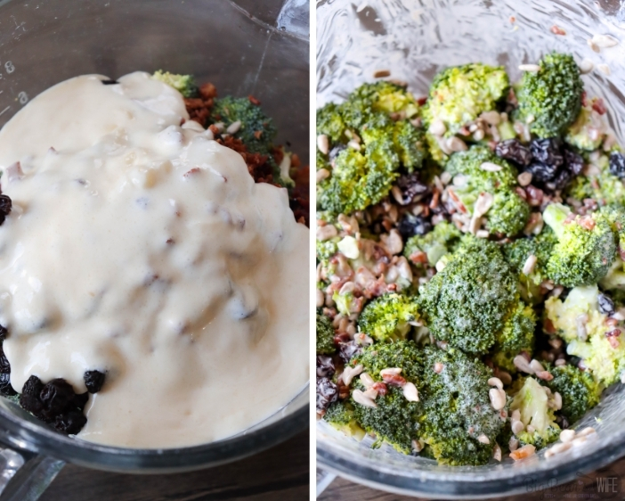 Mixing in dressing to Easy Broccoli Salad