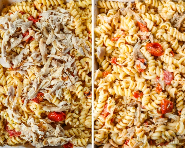 Pasta with chicken mixed in