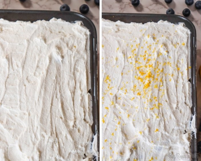 Poke cake with whipped topping and lemon zest