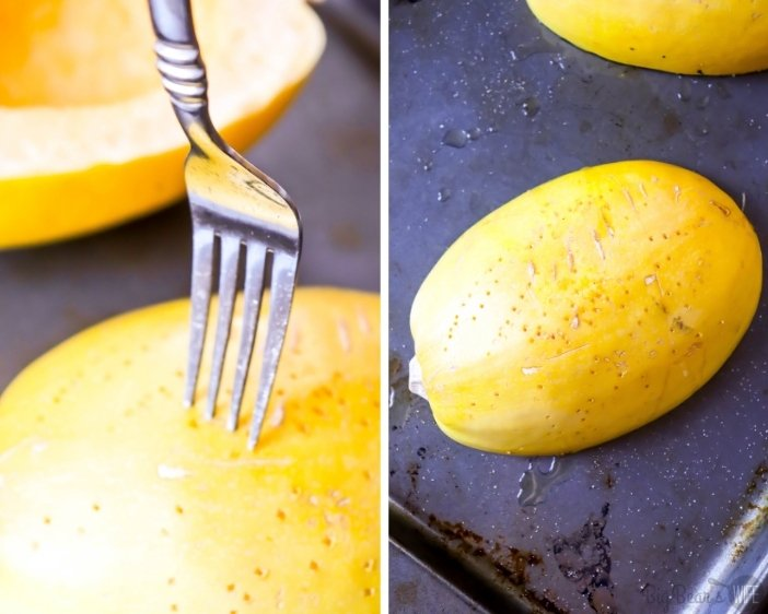 Poking holes in the shell of a Spaghetti Squash with a fork