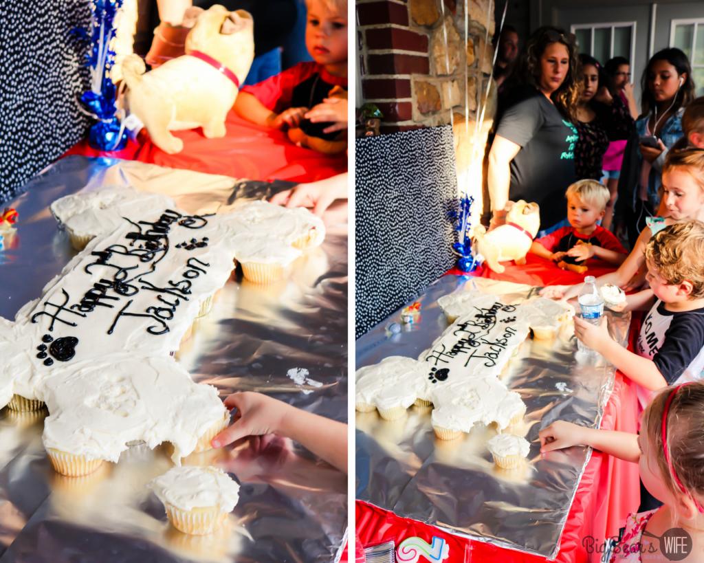 _Puppy Dog Pals Birthday Party Bone cupcake cake