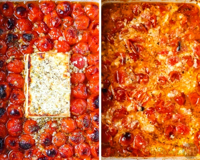 Roasted Cherry Tomatoes with block of feta cheese dish on left - Roasted tomatoes and feta mixed together on right (1)