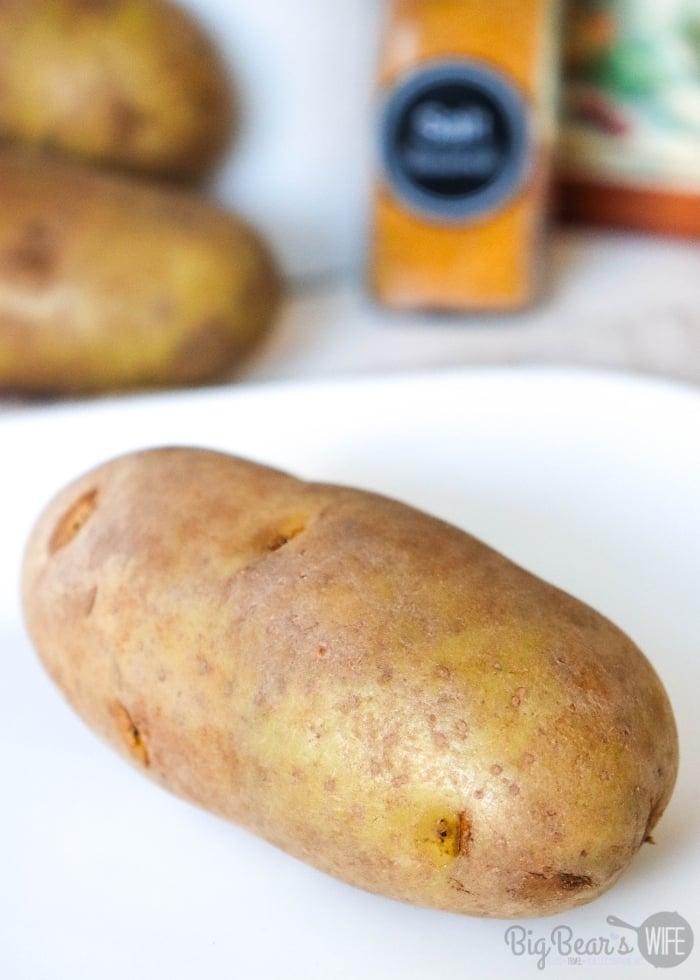 Russet Baking Potato on white plate
