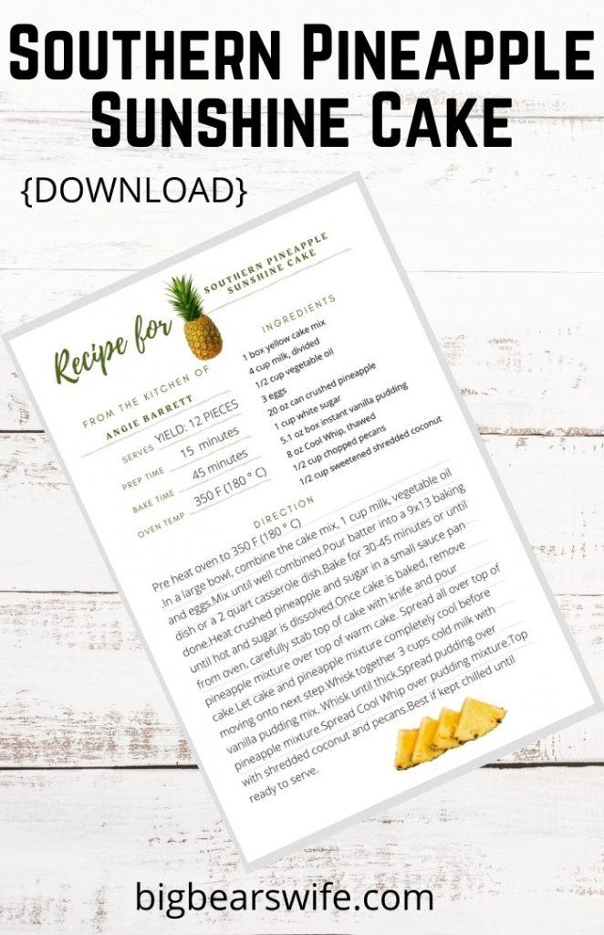 Southern Pineapple Sunshine Cake Recipe
