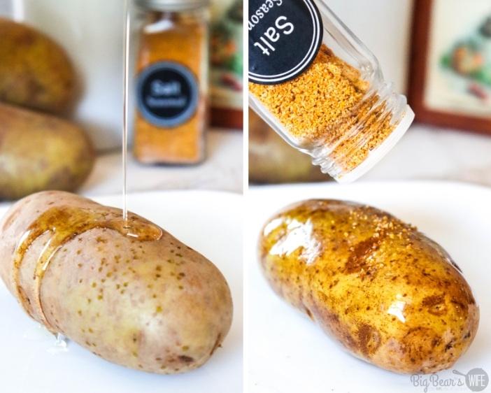 adding olive oil and seasoning salt to russet baking potato