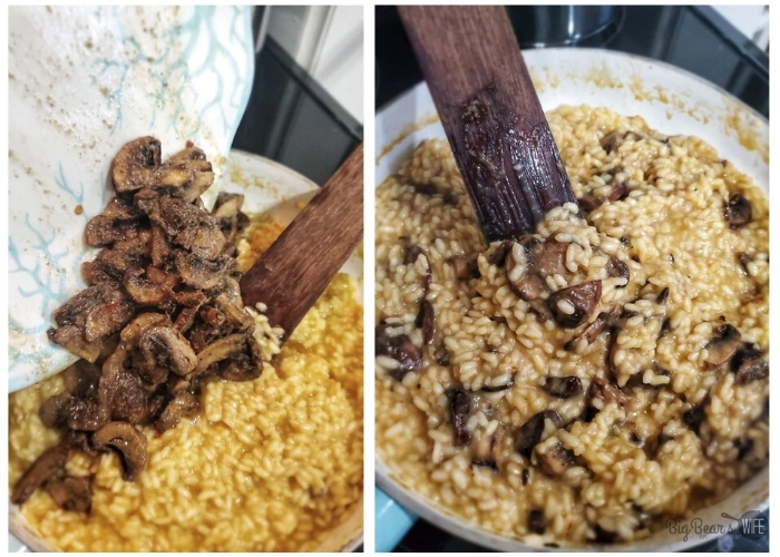 Adding mushrooms to MUSHROOM RISOTTO