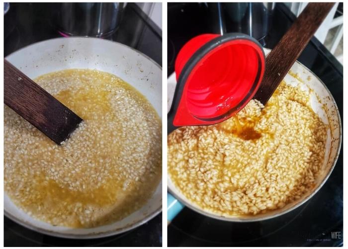 Adding vegetable broth to MUSHROOM RISOTTO (1)