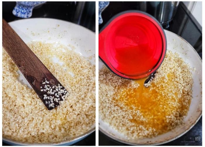 Adding vegetable broth to MUSHROOM RISOTTO
