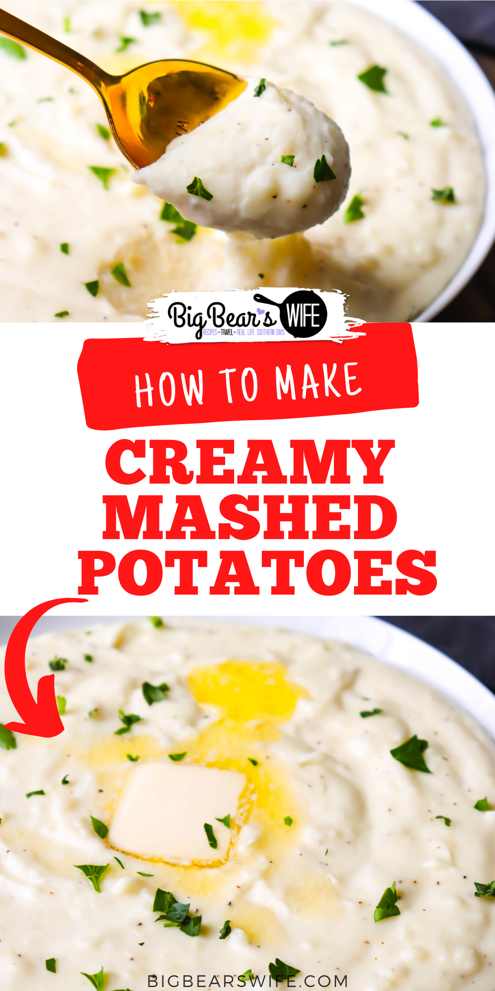 These Creamy Mashed Potatoes are smooth and flavorful! These mashed potatoes are perfect for dinner, BBQs and holidays! via @bigbearswife
