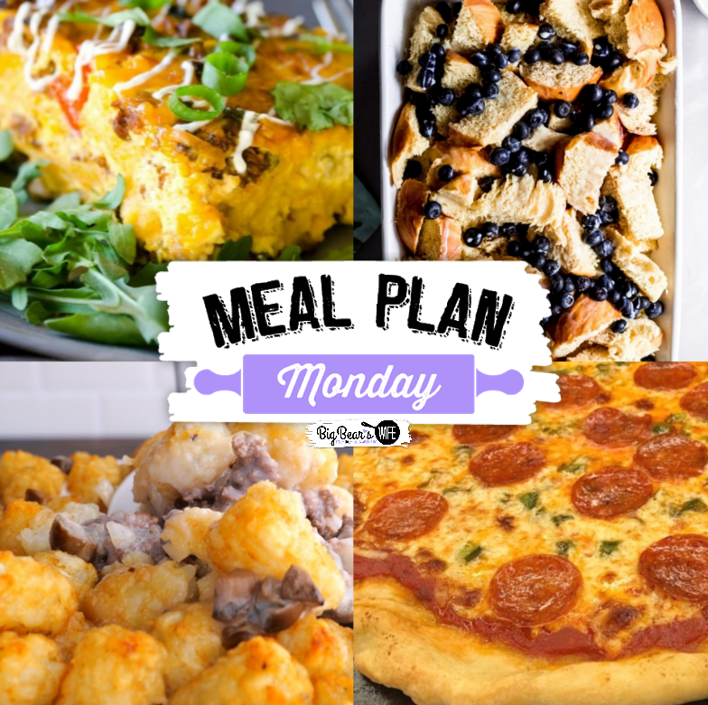 Welcome to Meal Plan Monday 261 :) We are so excited to feature these recipes today: Overnight Mexican Breakfast Casserole, Blueberry French Toast Bake, Homemade Beer Dough Pizza Crust and a delicious Tater Tot Casserole! All guaranteed to get your taste buds tingling!