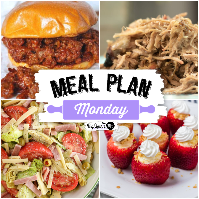 Hey, y'all! Welcome, welcome! It's time for another super delicious edition of Meal Plan Monday! We're featuring Smoked Boston Butt, The Best Homemade Sloppy Joes, Cheesecake Stuffed Strawberries and The 1905 Salad Best Salad Ever!