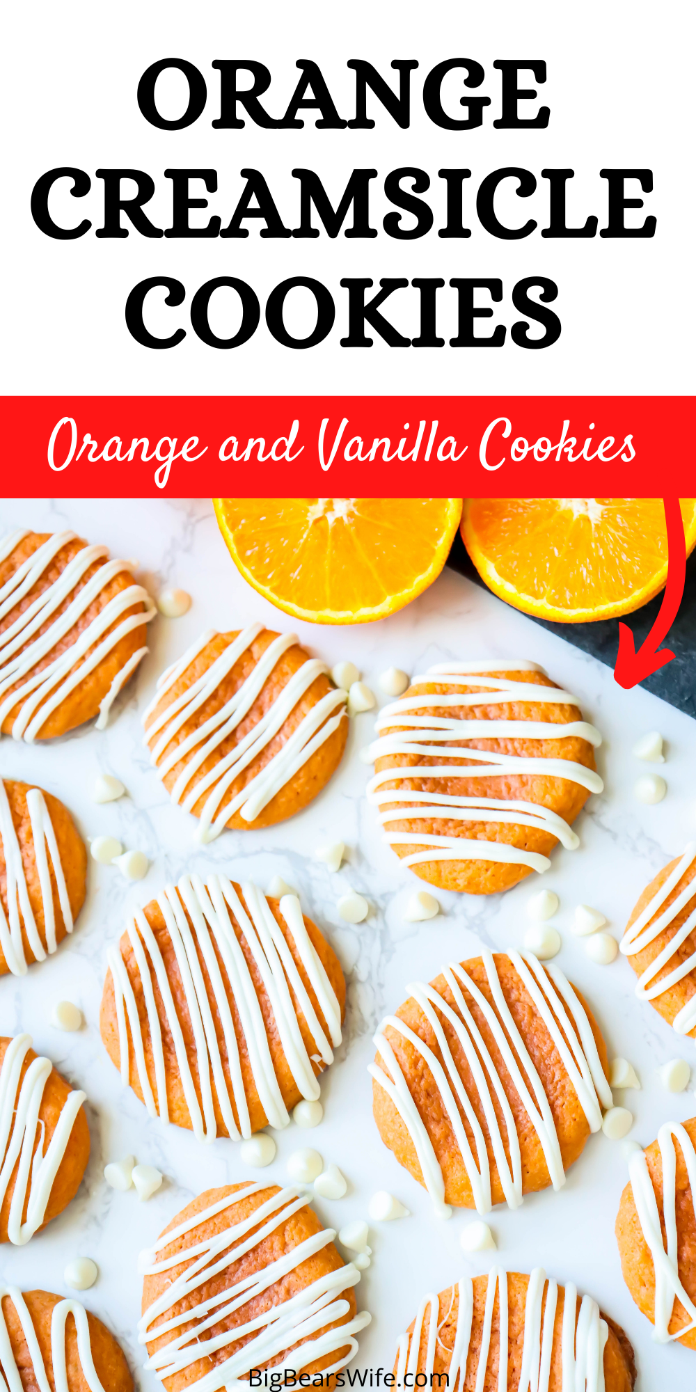 These Orange Creamsicle Cookies are the perfect combination of vanilla and orange! They're soft, smell just like Orange Creamsicle ice cream and are topped with a white chocolate drizzle! via @bigbearswife