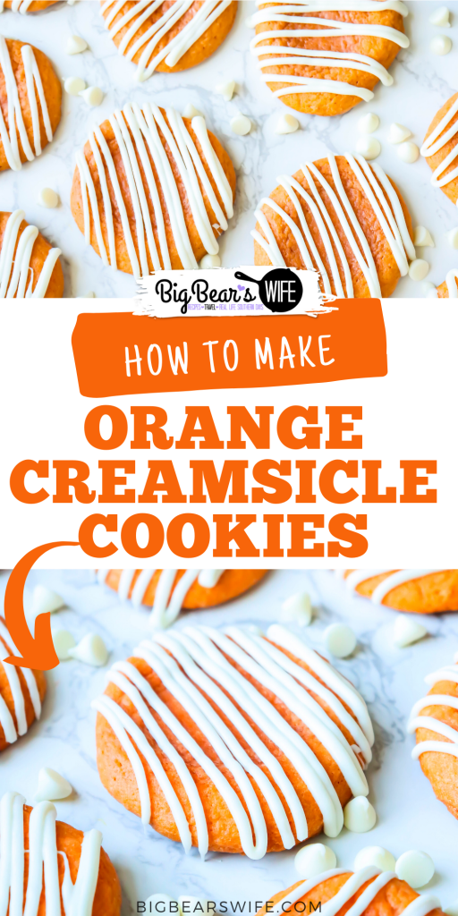 These Orange Creamsicle Cookies are the perfect combination of vanilla and orange! They're soft, smell just like Orange Creamsicle ice cream and are topped with a white chocolate drizzle!