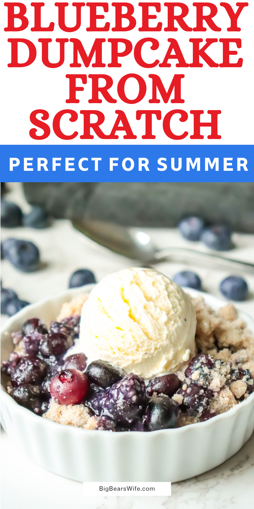 This recipe is a homemade take on the popular fruit dump cakes! This Blueberry Dump Cake takes only 30 minutes to bake and it is perfect  with vanilla ice cream!   via @bigbearswife