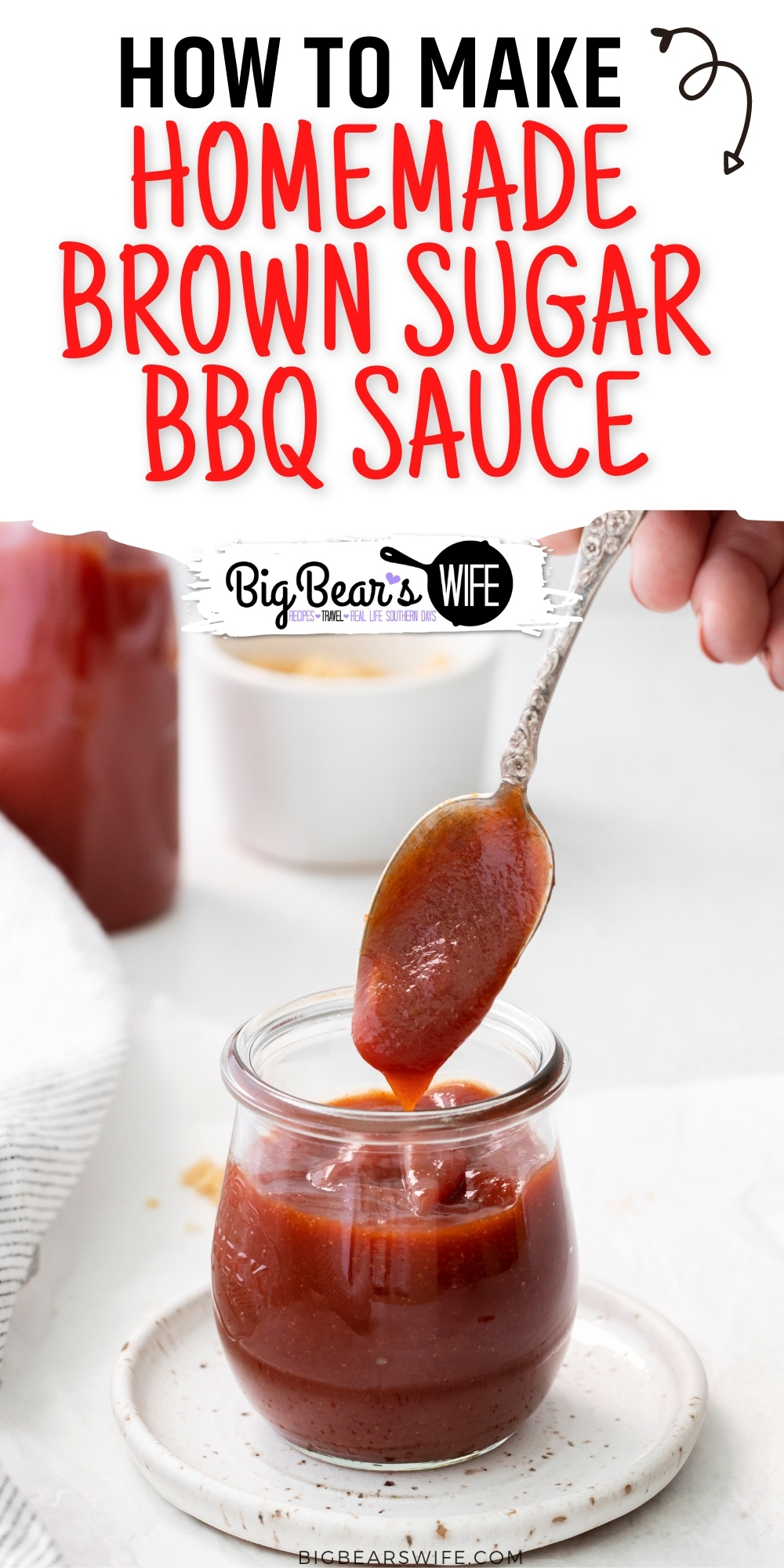 Homemade Brown Sugar BBQ Sauce - a sweet homemade bbq sauce that is perfect for ribs and burgers but also great for dipping fries and onion rings! via @bigbearswife