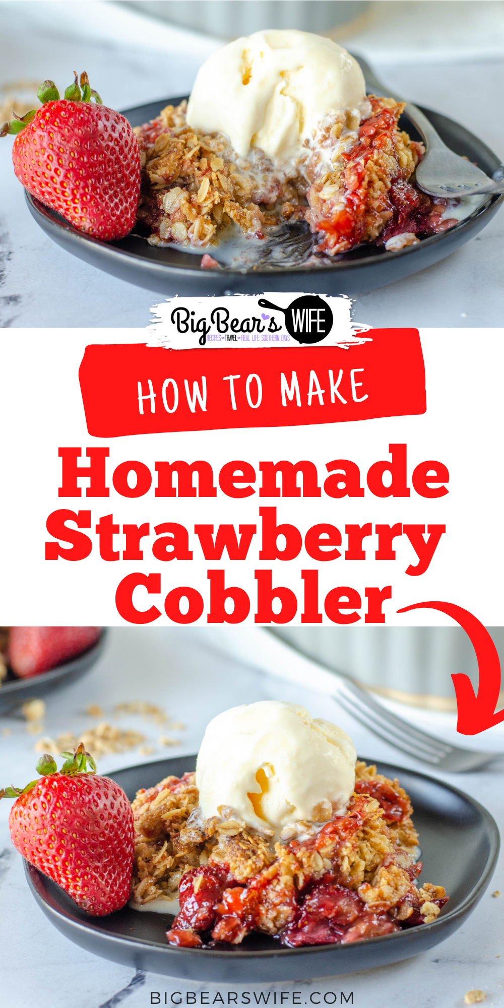 Call this Homemade Strawberry Cobbler, Strawberry Crumble or a Strawberry crisp but also call it delicious! Sweet Summer Strawberries are baked into a sweet bubbly dessert with a sweet topping. via @bigbearswife
