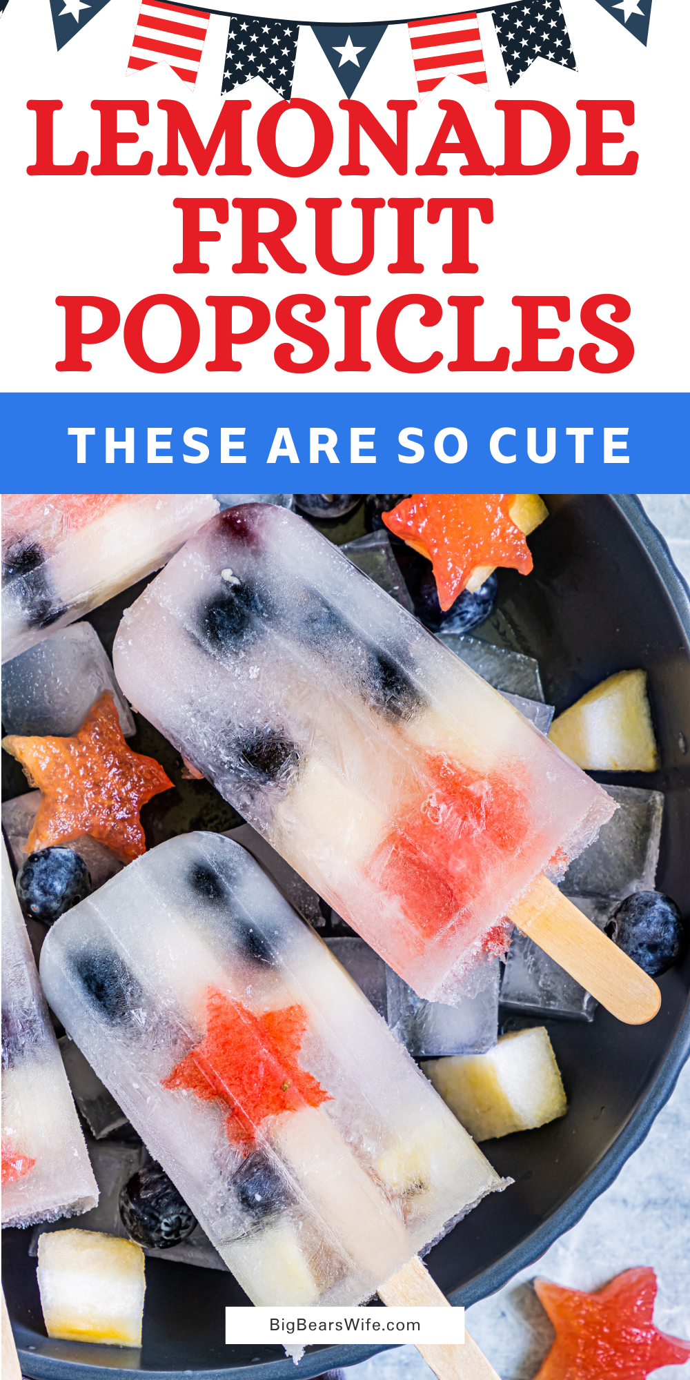 These Lemonade Fruit Popsicles are homemade Fruit Ice Pops that perfect for cooling off on a hot summer day and they're super fun to make with lemonade and whatever fruit you have around the house. via @bigbearswife