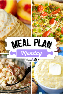 Welcome to this week's Meal Plan Monday! This week we are featuring Homemade Peach Ice Cream, Copycat KFC Macaroni Salad, Breakfast Pizza and Southern Style Creamy Grits.