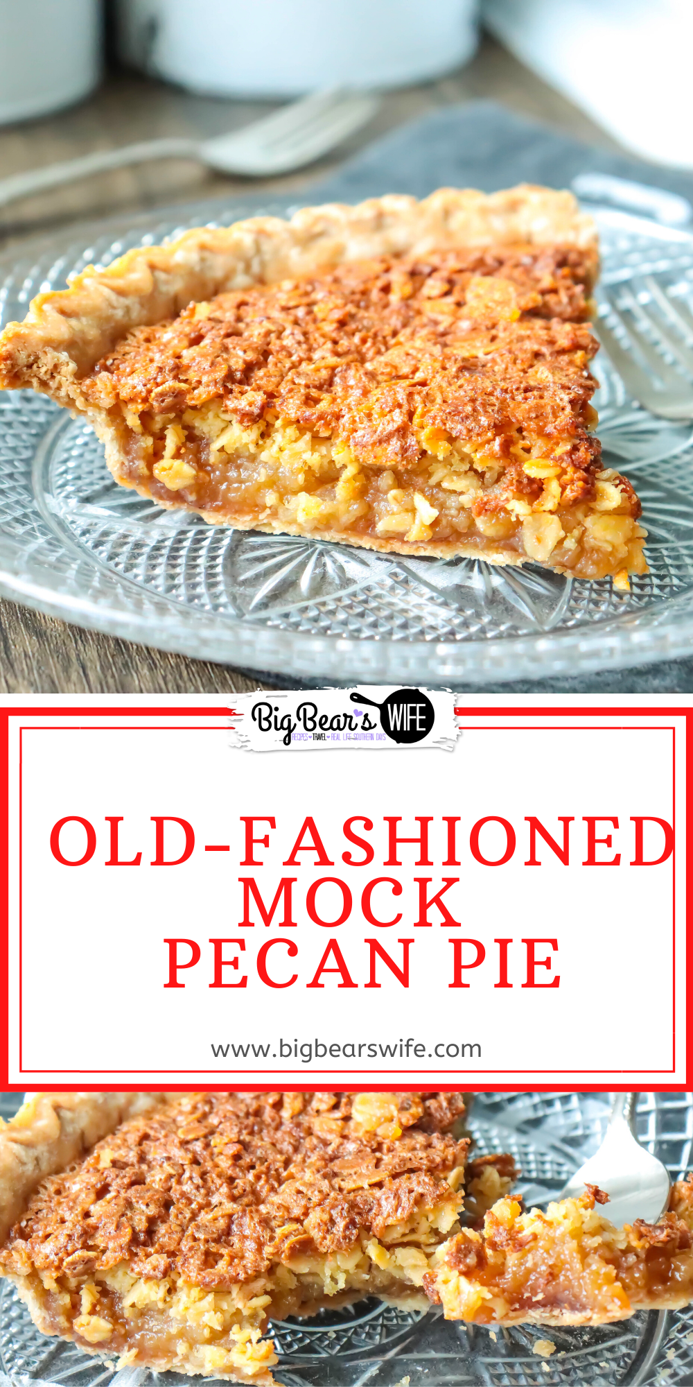 """Old-Fashioned Mock Pecan Pie is a vintage pie recipe that is also know as """"Depression Pie"""" or """"Oatmeal Pie""""and it was popular in the 1920sand 1930s during the depression. via @bigbearswife"""