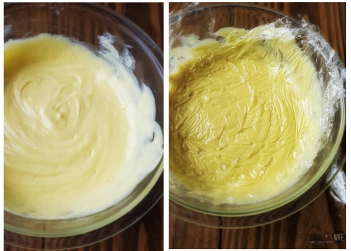 ORANGE CUSTARD without plastic wrap in a clear bowl on left and ORANGE CUSTARD with plastic wrap on top to prevent skin on custard on right