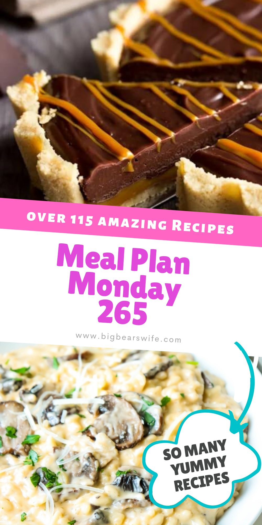 Welcome to Meal Plan Monday 265! We're featuring recipes like, Mexican Stuffed Shells, Slow Cooker Buffalo Chicken, Insanely Easy No Bake Caramel Chocolate Tart and Mushroom Risotto! via @bigbearswife