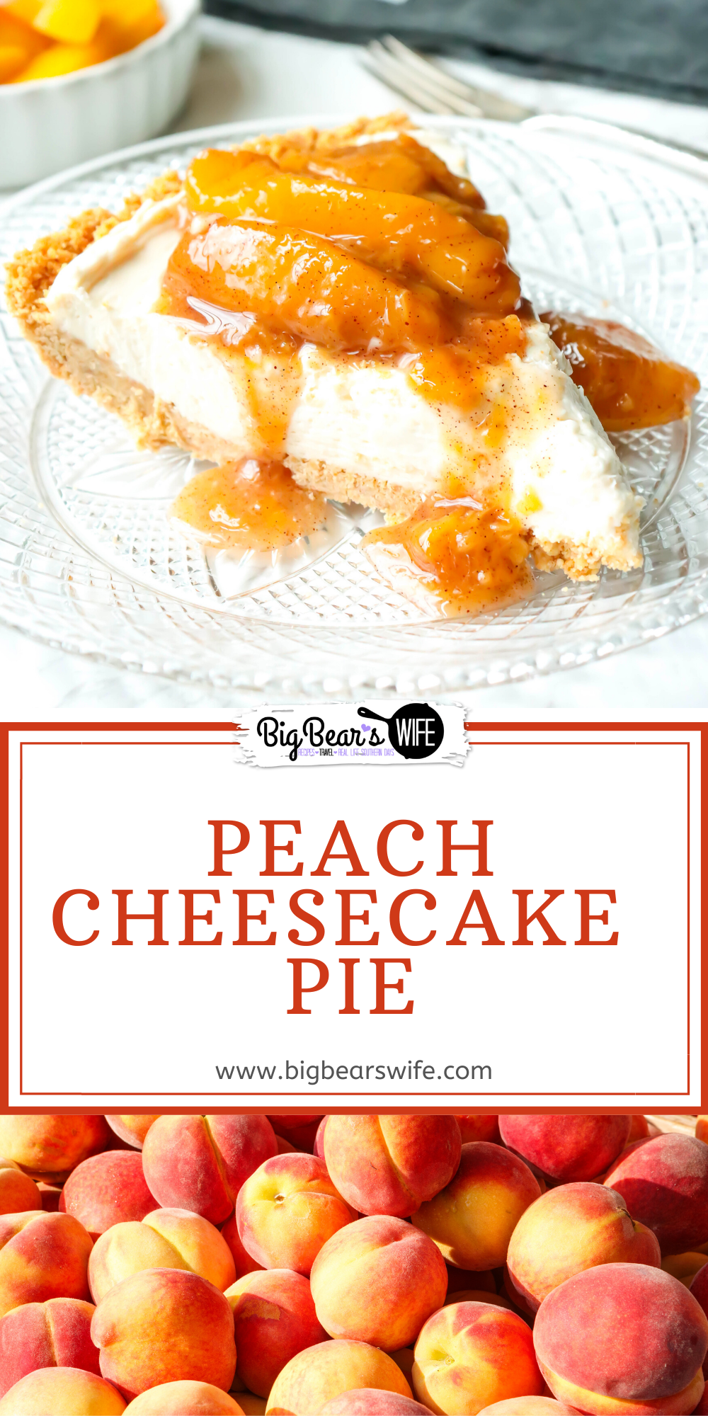 This chilled and creamy Peach Cheesecake Pie has a homemade graham cracker crust and is topped with a delicious peach sauce! via @bigbearswife