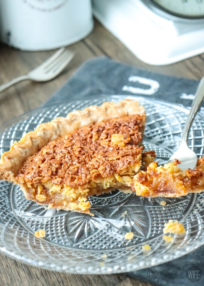 Partially eaten OLD-FASHIONED MOCK PECAN PIE