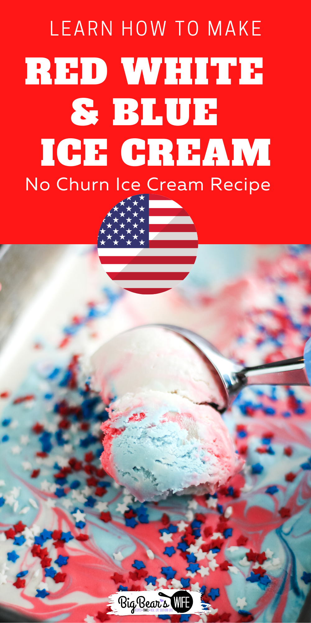 This Easy No Churn Red White and Blue Tie Dye Ice Cream is perfect for MemorialDay Weekend, The 4th of July or Veterans Day! You'll love how simple it is to make and you DON'T need an ice cream making for this recipe! via @bigbearswife