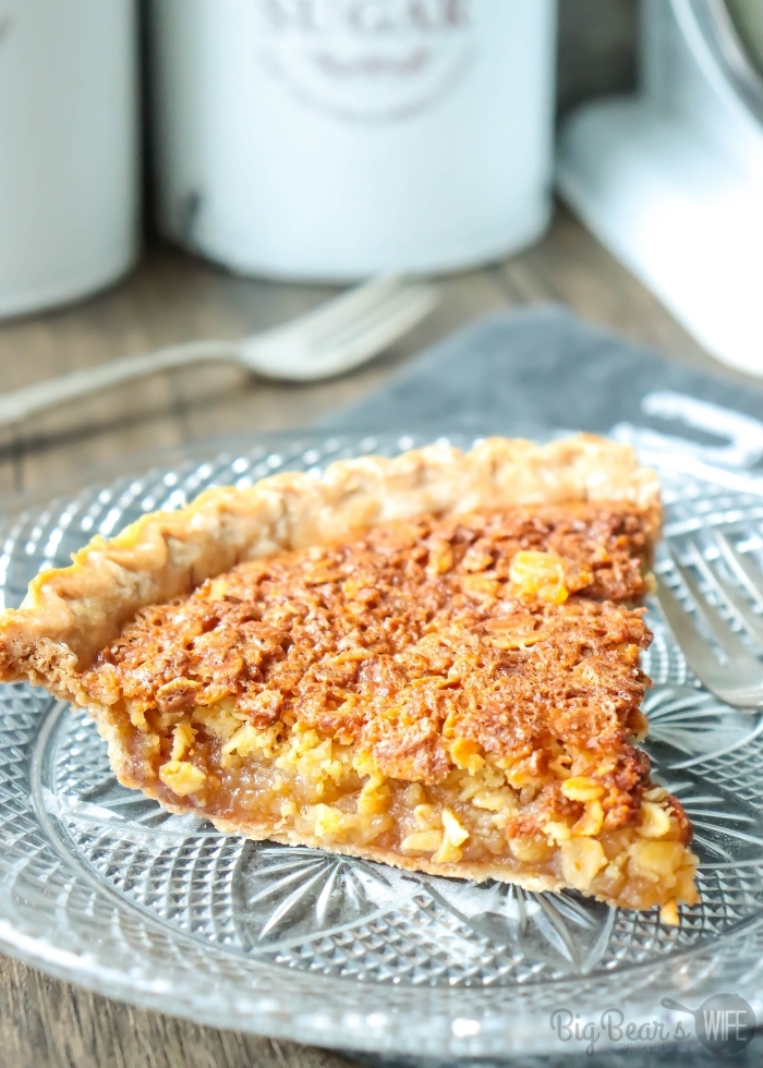 Slice of OLD-FASHIONED MOCK PECAN PIE on a crystal plate