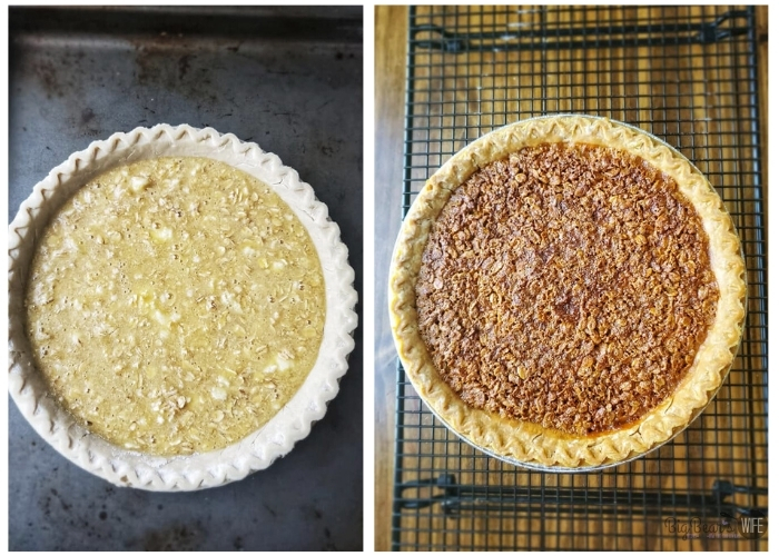 Unbaked OLD-FASHIONED MOCK PECAN PIE on left and baked OLD-FASHIONED MOCK PECAN PIE on right